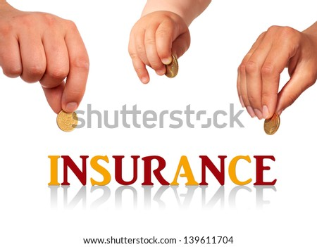 Family insurance concept. Isolated over white. - stock photo