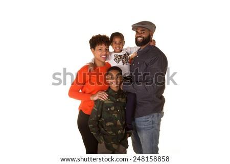 Family isolated on white - stock photo