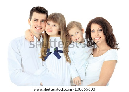 Family isolated on white background - stock photo