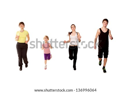 Family jogging. Mother and three children, a little girl, and two teenagers, a boy and a girl running, fitness workout. Isolated on white background - stock photo