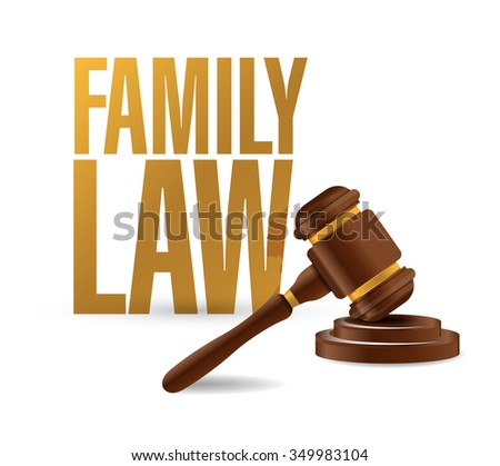 family law concept and hammer illustration design over a white background - stock photo