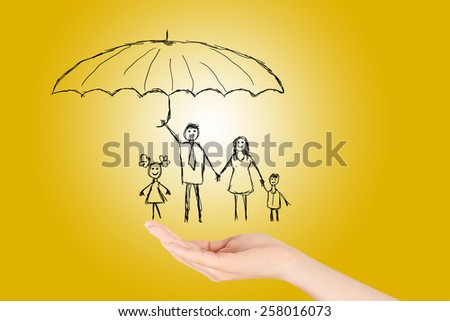 Family life insurance,Property insurance and security concept , Protecting. Open hand making a protection gesture  isolated on yellow background.
