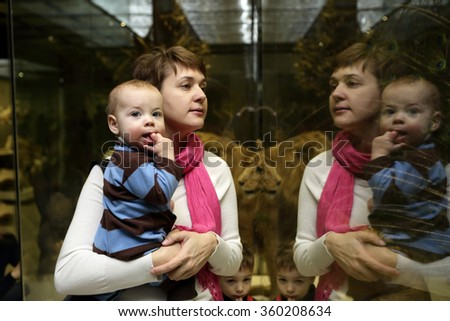 Family looking at lion in the museum - stock photo