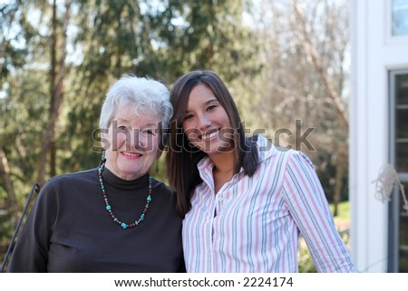 Family love, a grandma with her granddaughter
