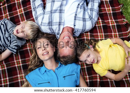 Family lying together in the park on a sunny day - stock photo