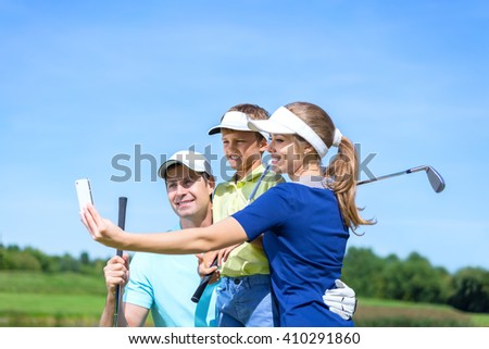 Family makes selfie outdoors