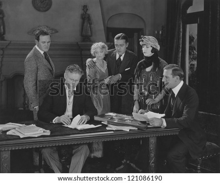 Family members at the lawyer's office - stock photo