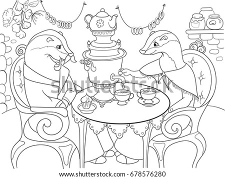 Family Of Badgers In Their House The Kitchen Coloring Book For Children Cartoon Raster Illustration