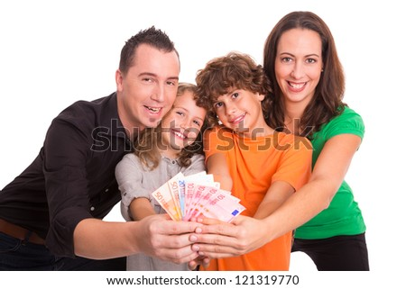 Family of four holding Euro banknotes in their hands - stock photo