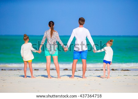 Family of four on vacation