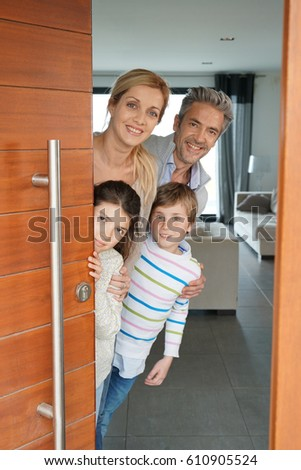 Family of four opening house front door  sc 1 st  Shutterstock & Portrait Kid Eating Slice Pizza Stock Photo 610905509 - Shutterstock