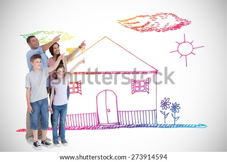 Family of four pointing at copy space against white background with vignette - stock photo