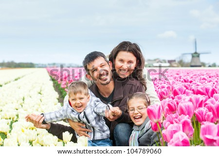 Family of four walks between of the purple and white tulips field - stock photo
