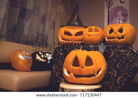 family of halloween pumpkins at the halloween party 02.11.16 Russia, Tomsk