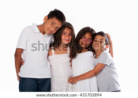 Family of happy brothers and sisters, together on white.