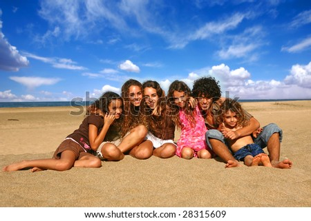Family of 6 Happy Kids Smiling Outdoors at the Beach