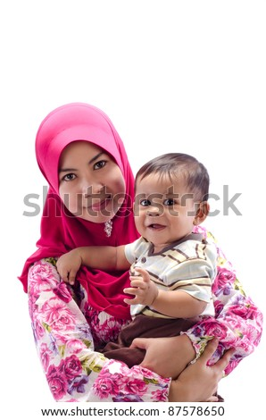 Family of happy Muslim mother and son isolated on white background - stock photo