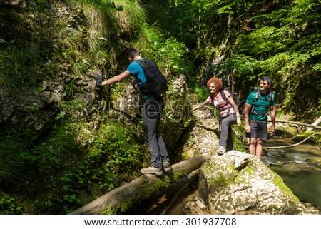 Family of hikers walking through a gorgeous canyon - stock photo