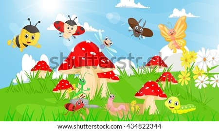 family of insects in the garden with mushrooms and flowers