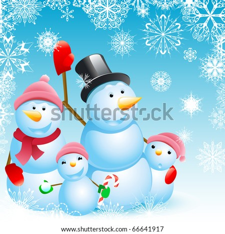 family of snowman christmas background - stock photo