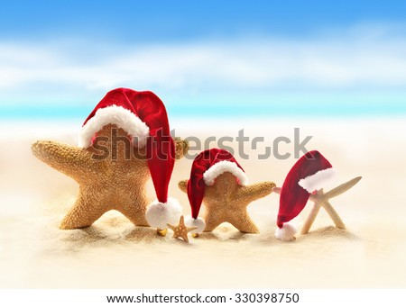 Family of starfish on summer beach and santa hat. Merry Christmas - stock photo