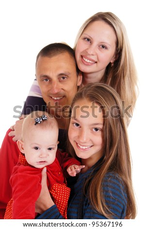 family of three people standing on a background