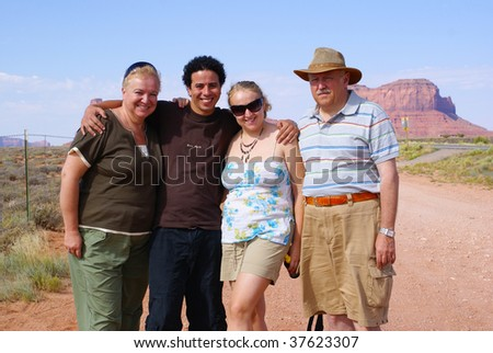 Family of tourists in Monument Valley Tribal Park