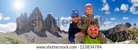 Family on hike, Tre Cime di Lavaredo - Dolomite - Italy - stock photo