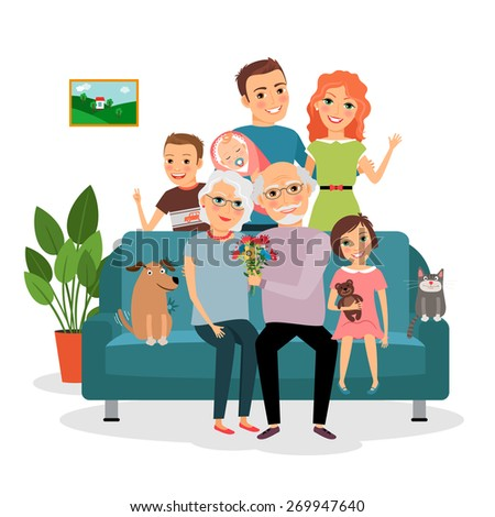 Family on sofa. Father and mother, infant, son and daughter, cat and dog, grandfather and grandmother - stock photo