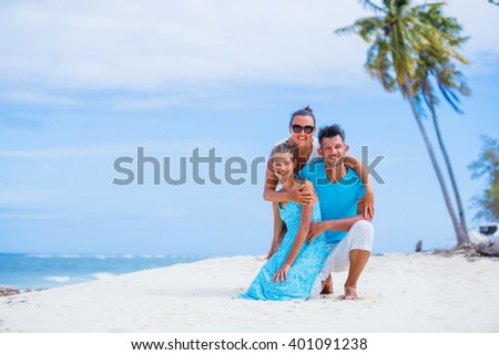 Family on the beach. - stock photo