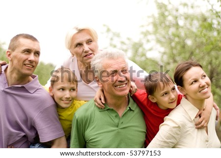 family on the nature - stock photo
