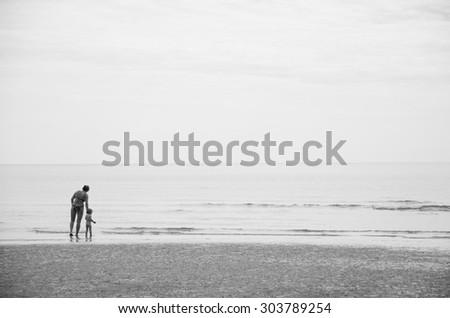 Family on the sea - stock photo