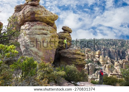 Family on vacation in the mountains/ Echo Canyon Trail. Chiricahua National Monument, Arizona, United States - stock photo