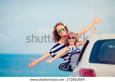 Family on vacation. Summer holiday and car travel concept - stock photo