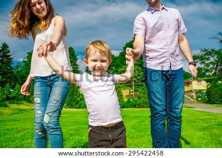 family outdoor - enjoying the summer life together - stock photo