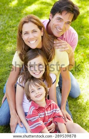 Family outdoors - stock photo