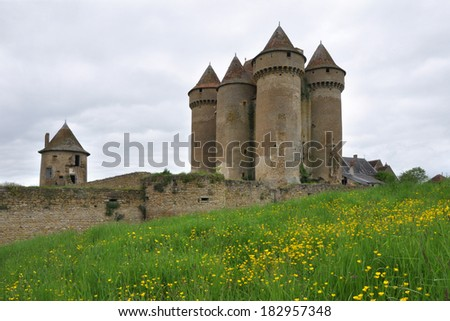 Family owned and restored Chateau Sarzay in Sarzay, France - stock photo