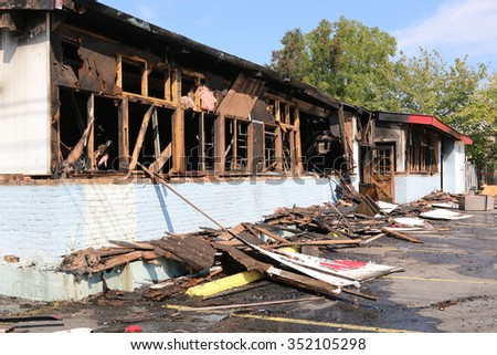 Family owned hardware store caught on fire overnight, Fire marshall is investigating cause of blaze. - stock photo