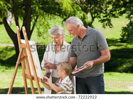 Family painting in the garden