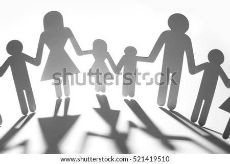 Family paper chain cutout holding hands