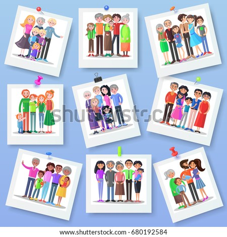 Family Photography Set Happy Photos Of Members With Different Clips Close Relationships Concept
