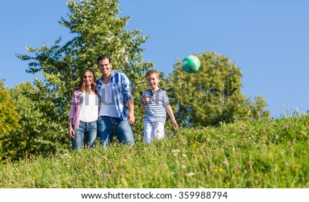 Family playing ball on summer meadow