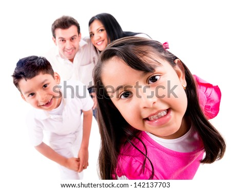 Family playing hide and seek - isolated over a white background