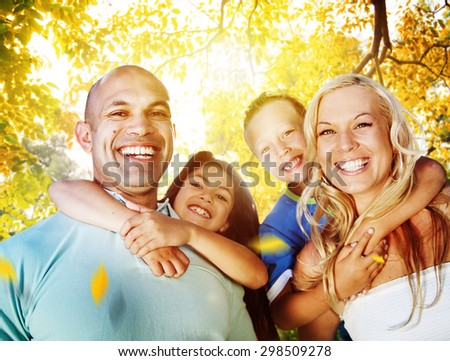 Family Playing Outdoors Children Autumn Concept - stock photo