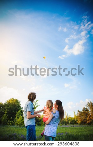 Family playing with a kite outdoor - stock photo