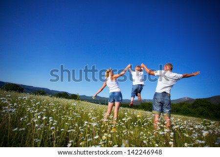 Family playing with son on the meadow - stock photo