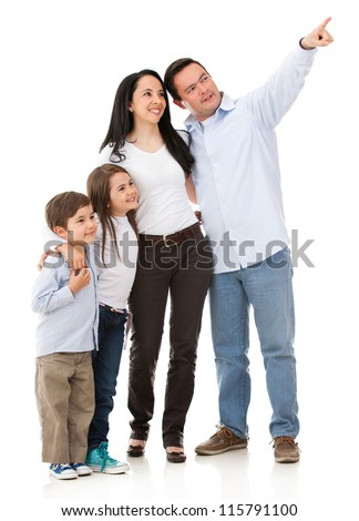 Family pointing somewhere - isolated over a white background - stock photo