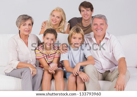 Family Portrait in sitting room - stock photo