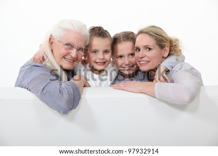 Family portrait of three generations - stock photo
