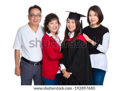 Family portrait with graduation girl